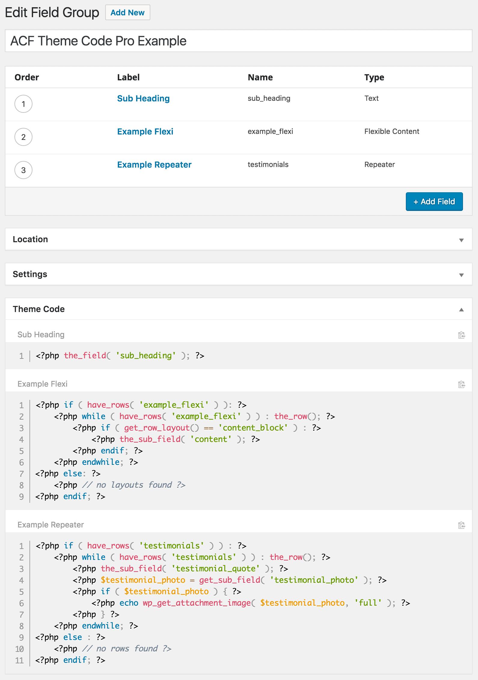 acf theme code pro example
